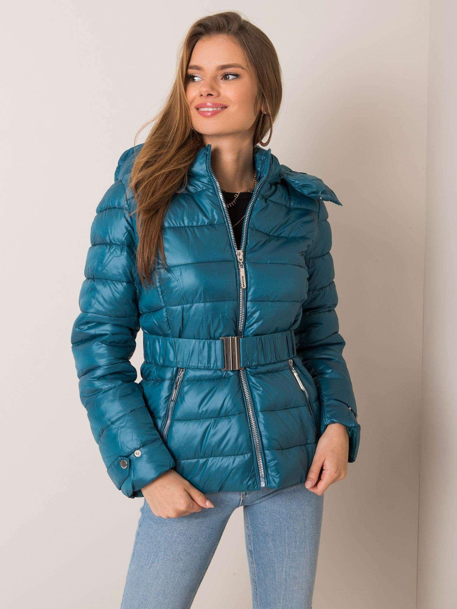 Modrá zimná bunda s opaskom - XXL
