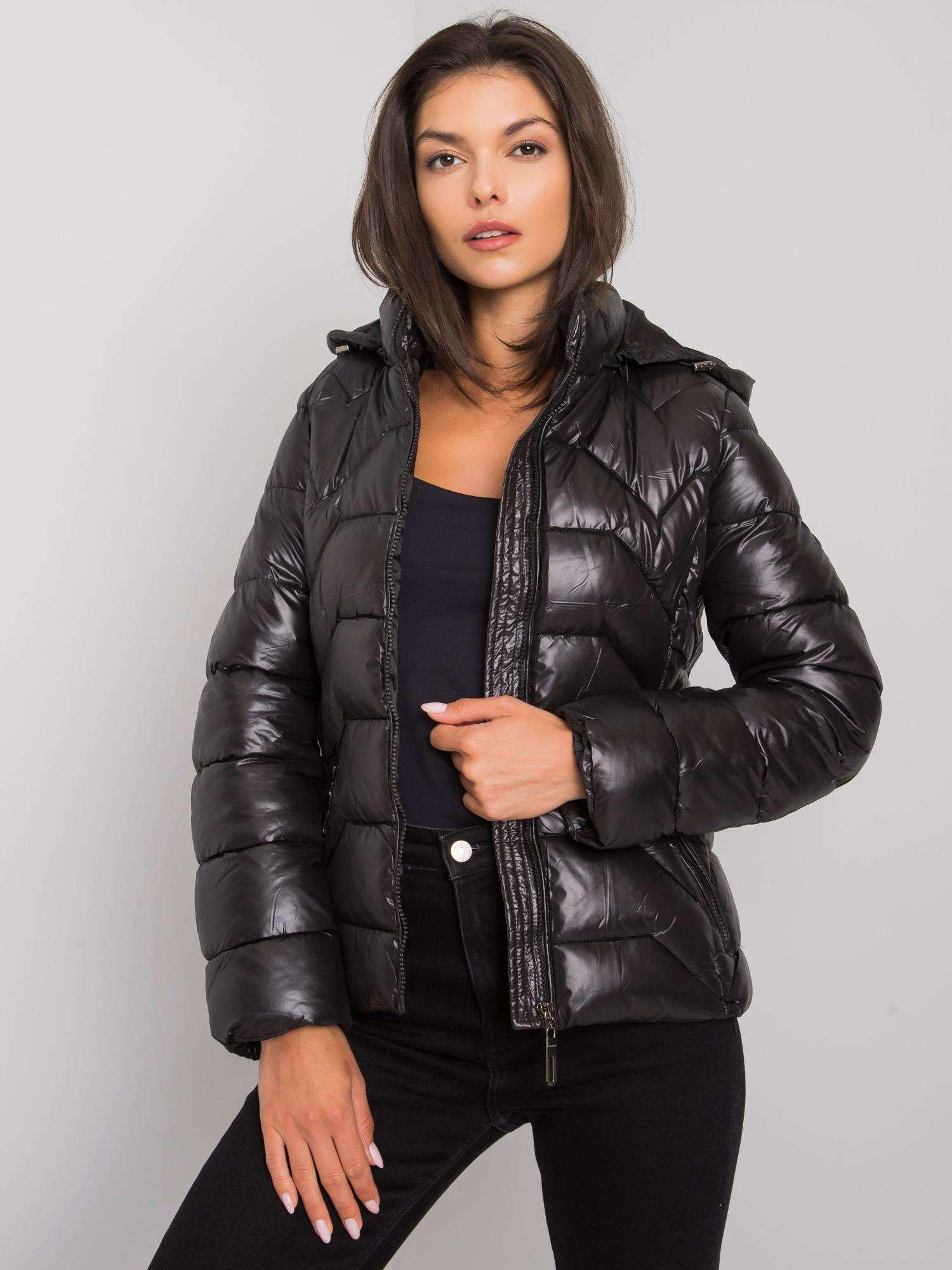 Čierna dámska bunda s kapucňou - S