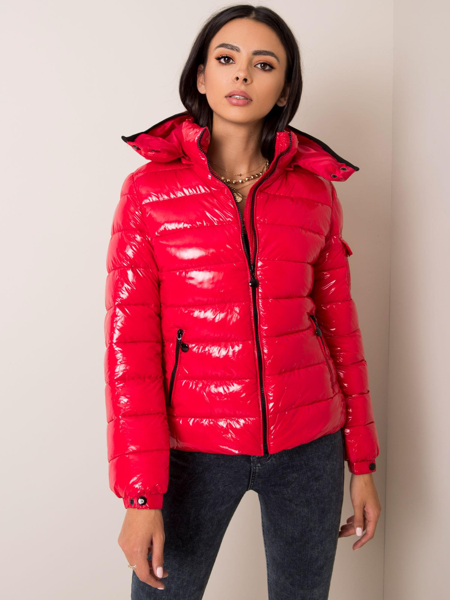 Zimná prešívaná červená bunda - M