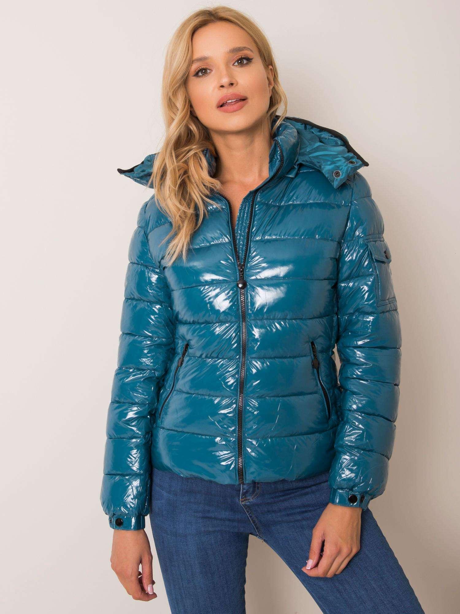 Zimná prešívaná tyrkysová bunda - M
