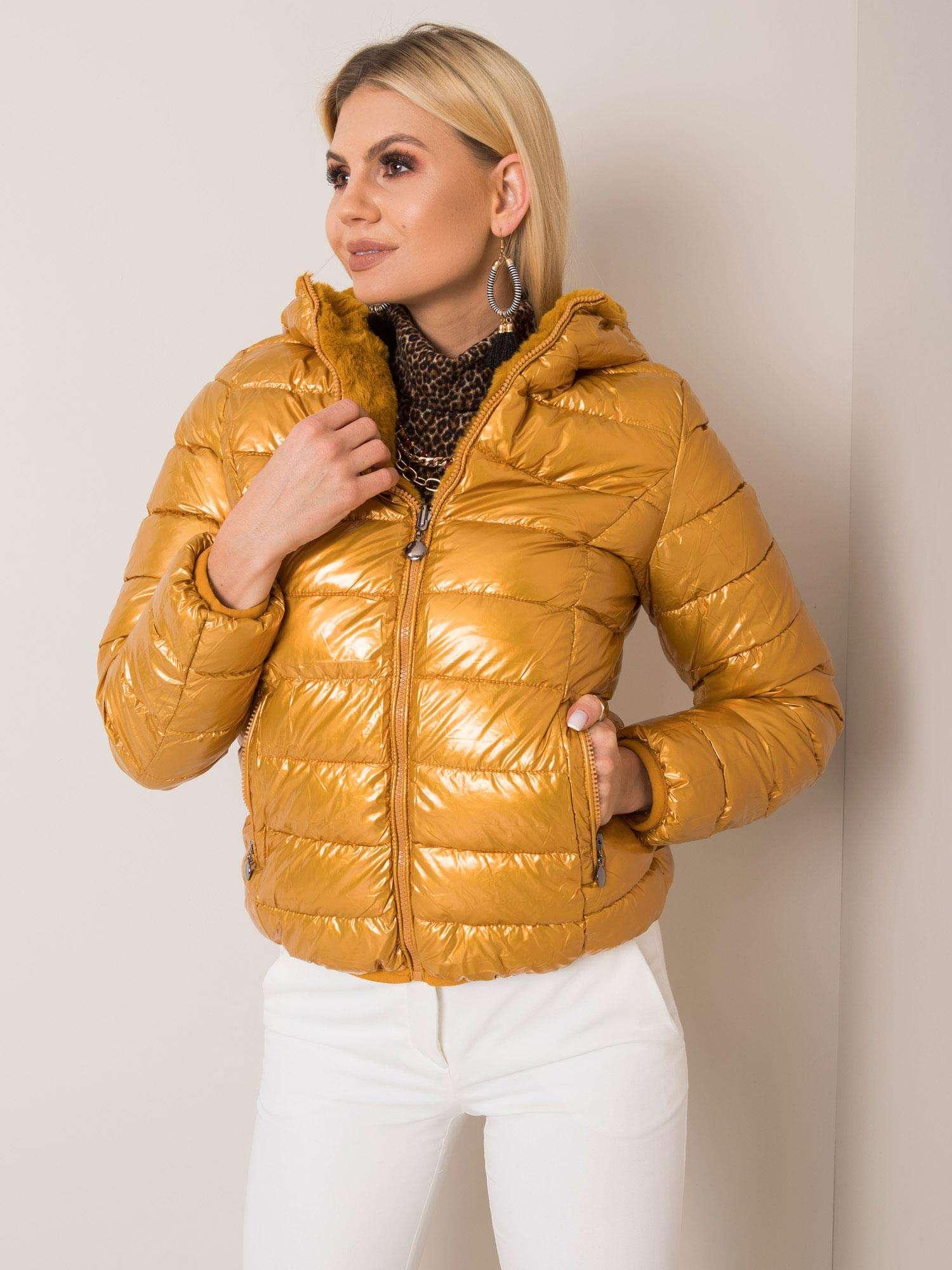 Horčicová prešívaná zimná bunda na zips - S