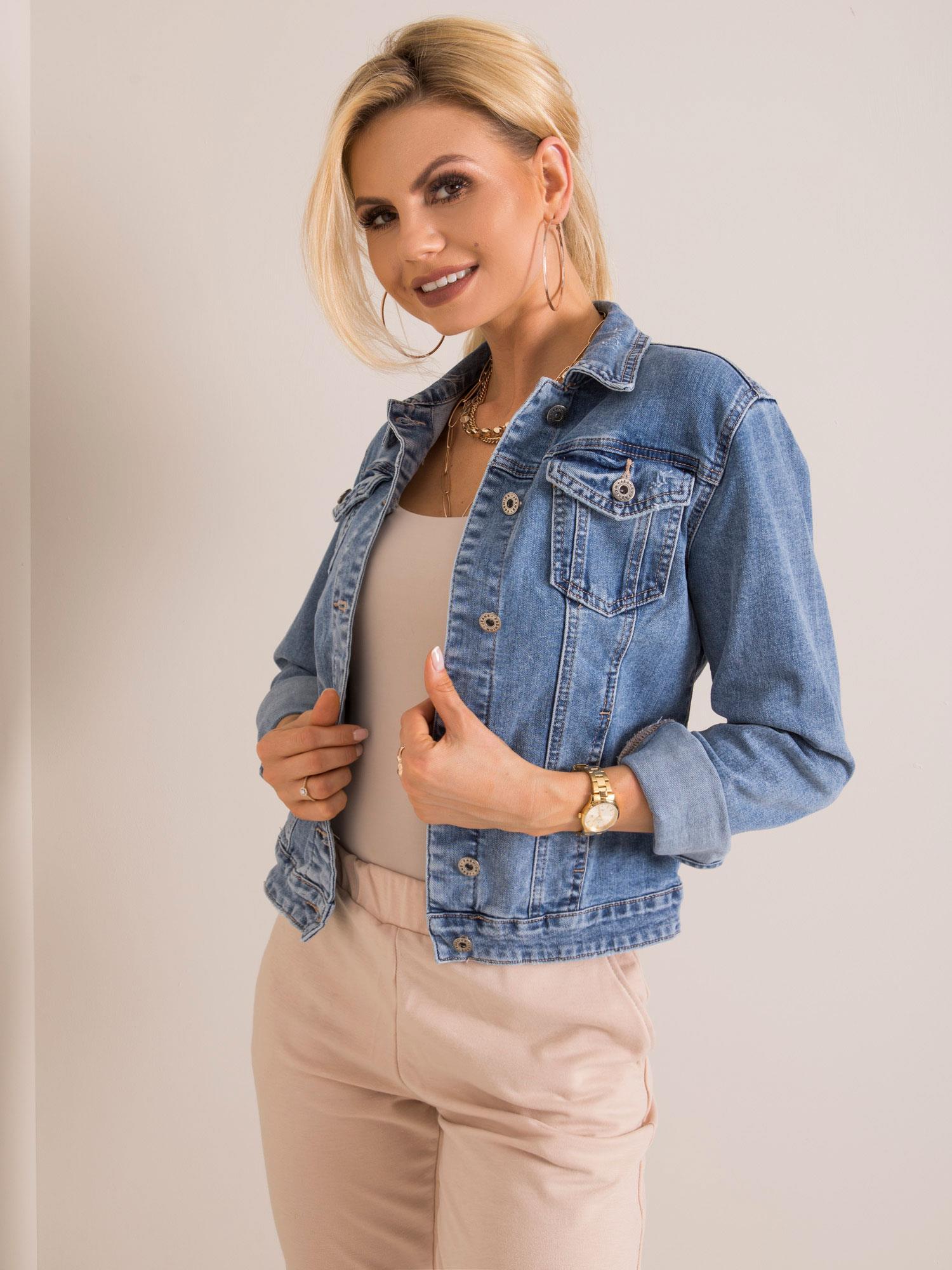 Dámska modrá džínsová bunda - L