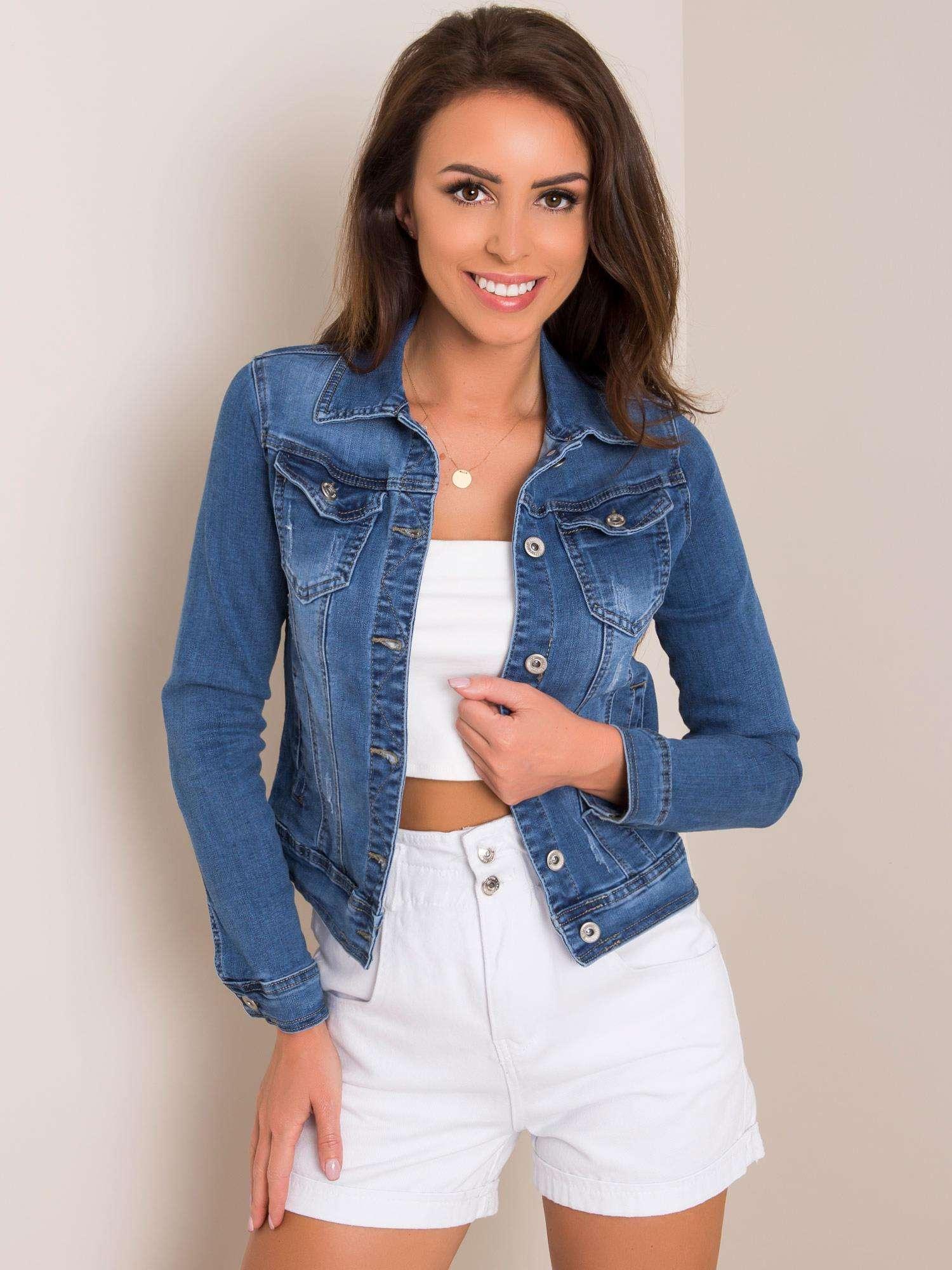Dámska modrá džínsová bunda - XS