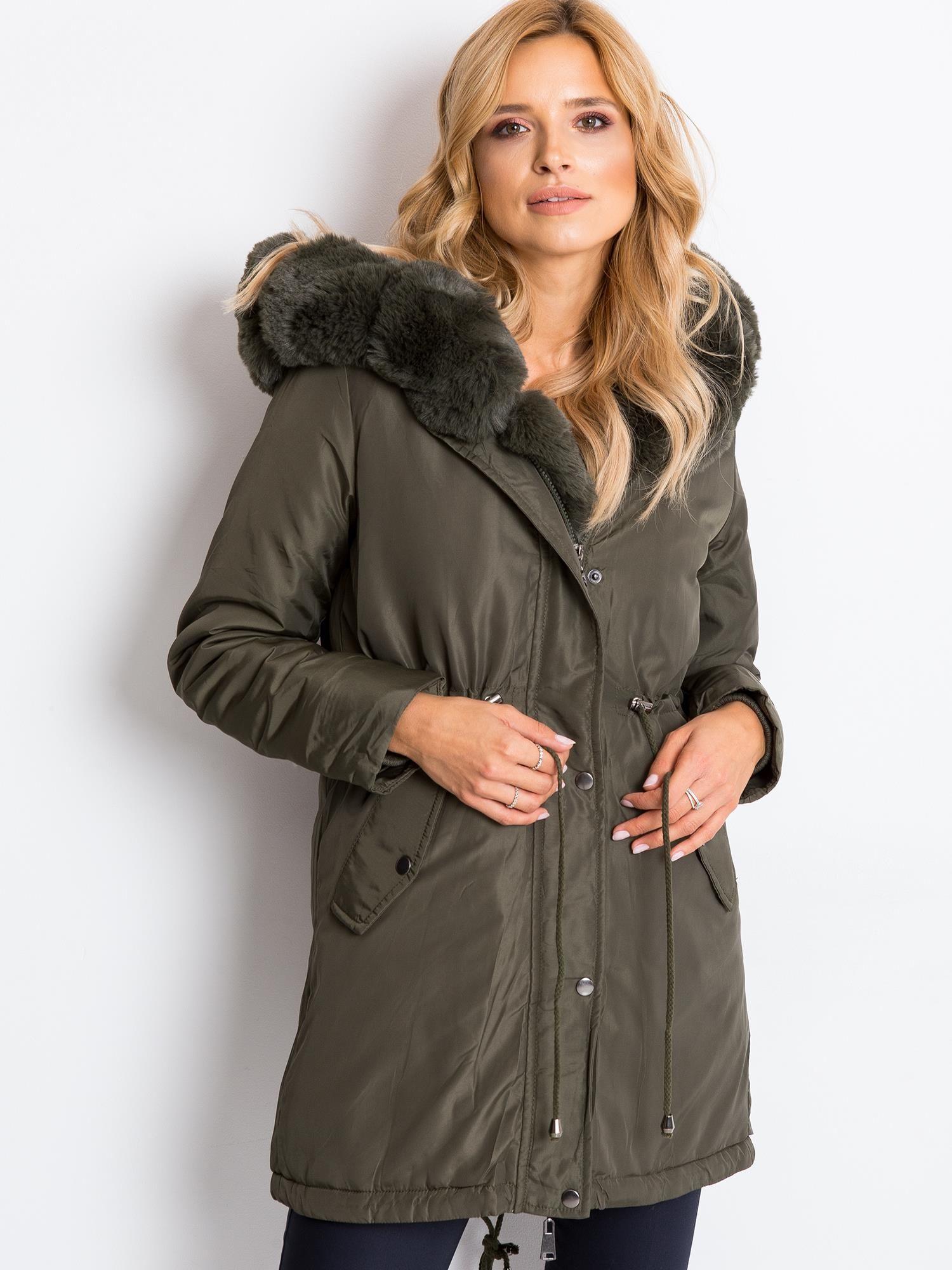 Kaki zateplená zimná bunda - XL