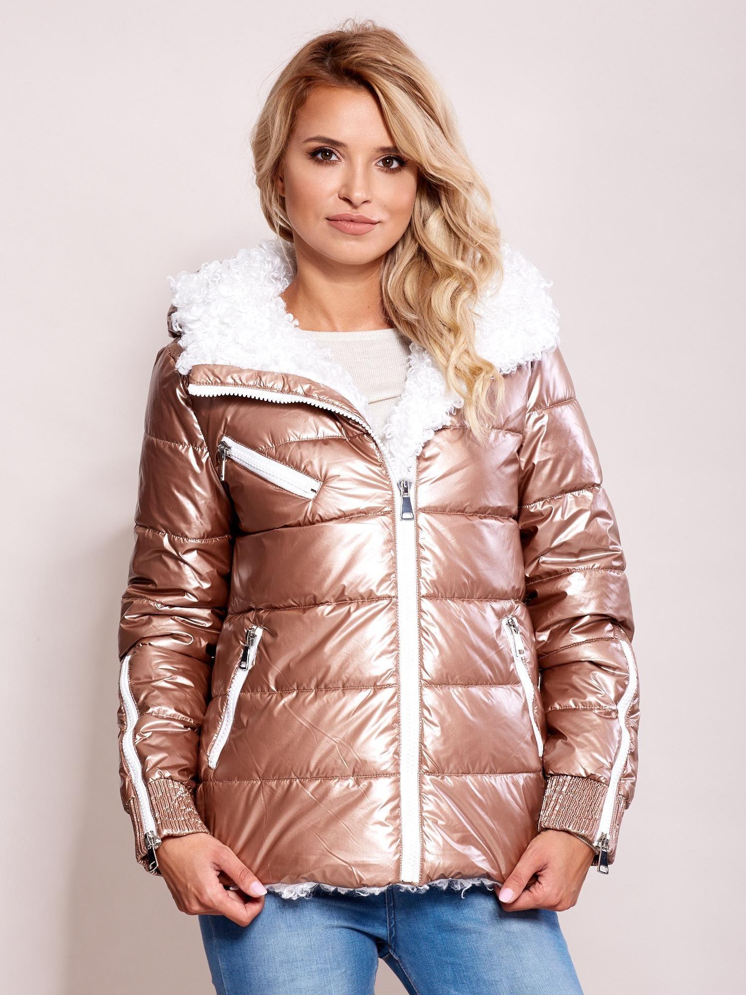Lesklá zimná bunda ružovej farby - S
