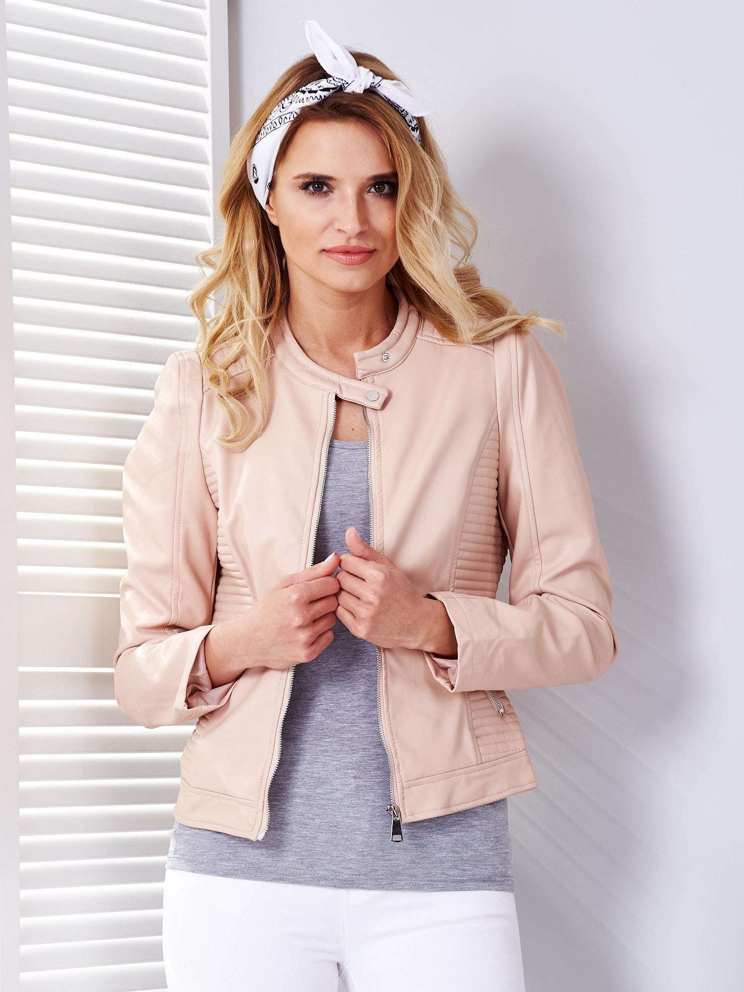 Ružová koženková bunda - S