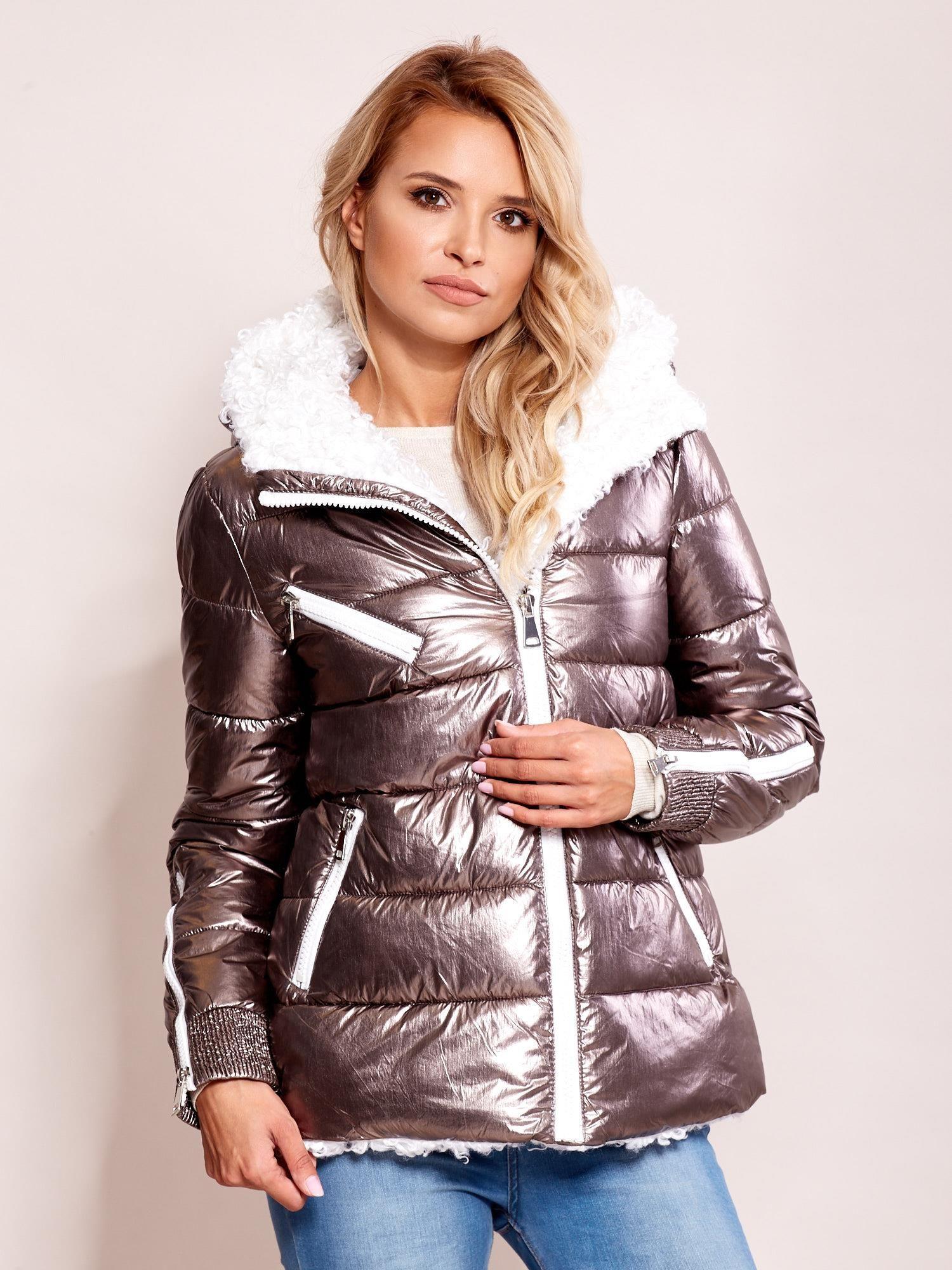 Lesklá zimná bunda striebornej farby - S
