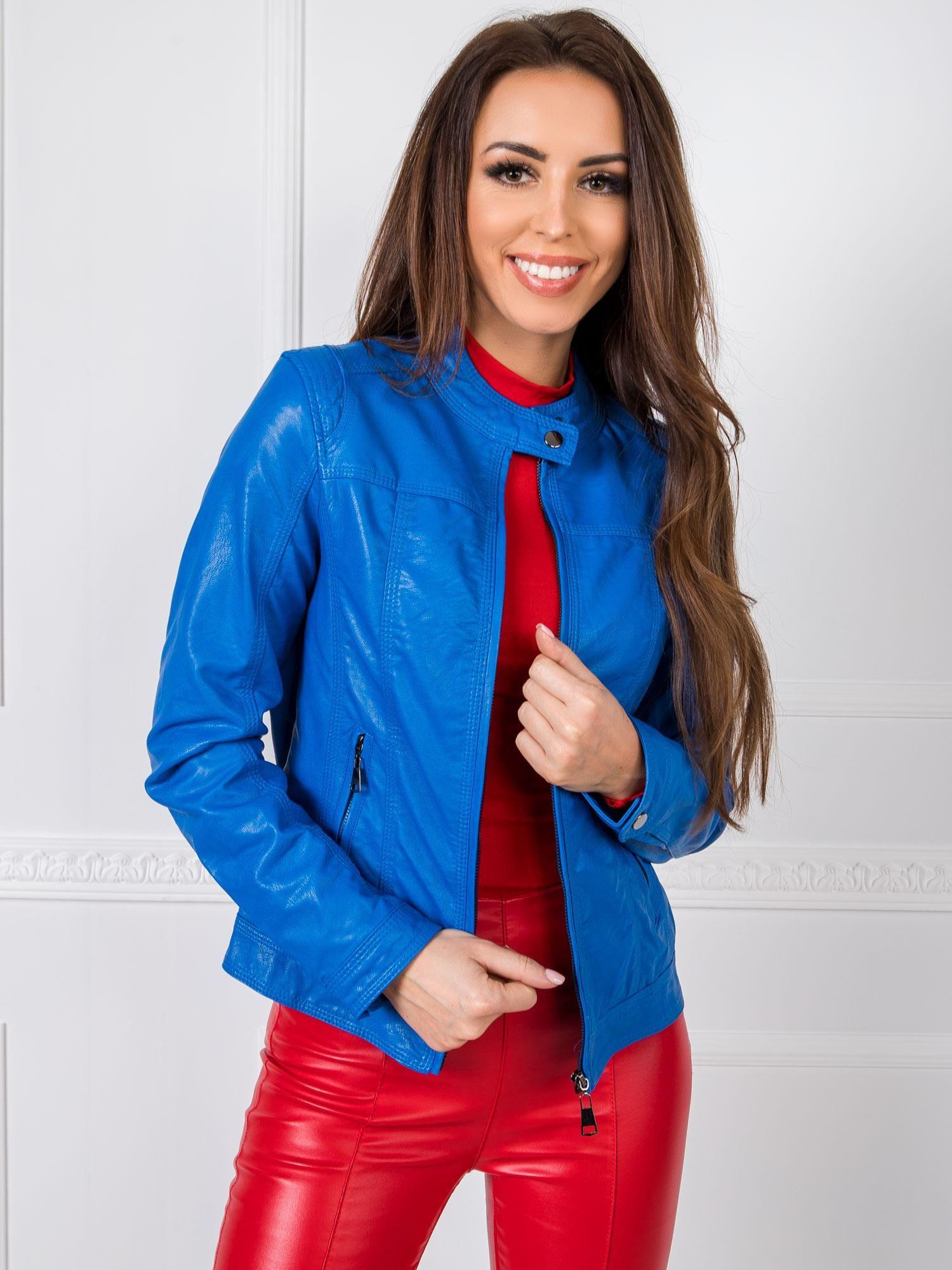 Dámska modrá kožená bunda - S