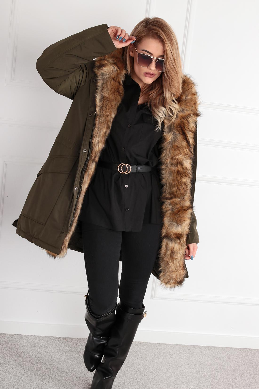 Zimná kaki bunda s kapucňou a kožušinou