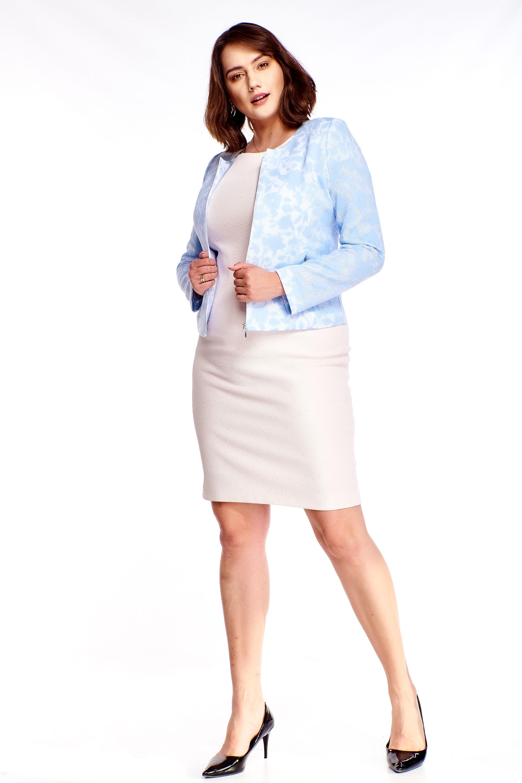 Krátke modré sako s kvetinovým vzorom - 38