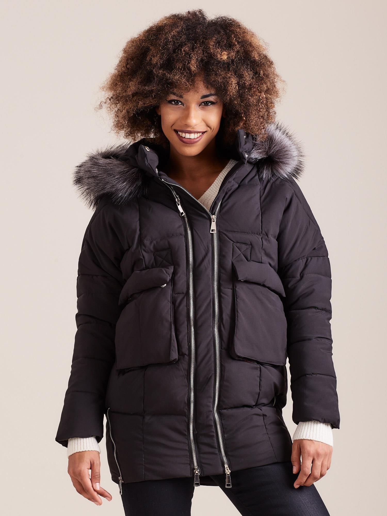 Dámska čierna zimná bunda - XL
