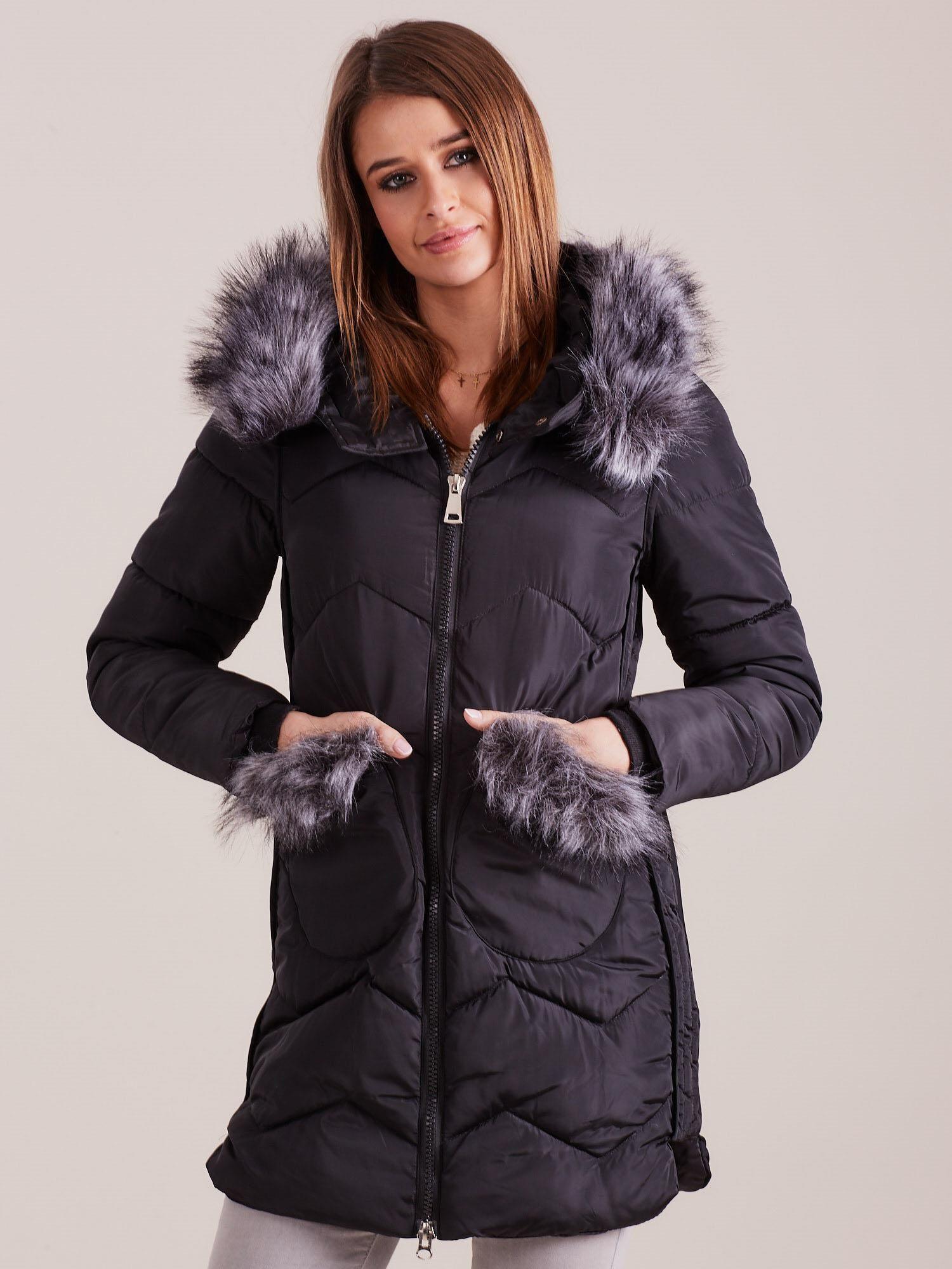 Čierna dámska zimná bunda - XL