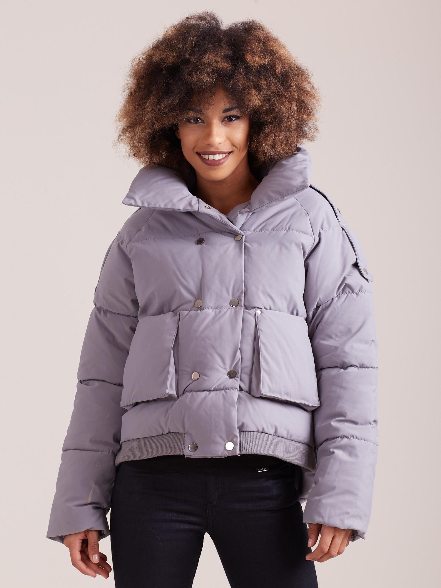 Krátka sivá zimná bunda - M