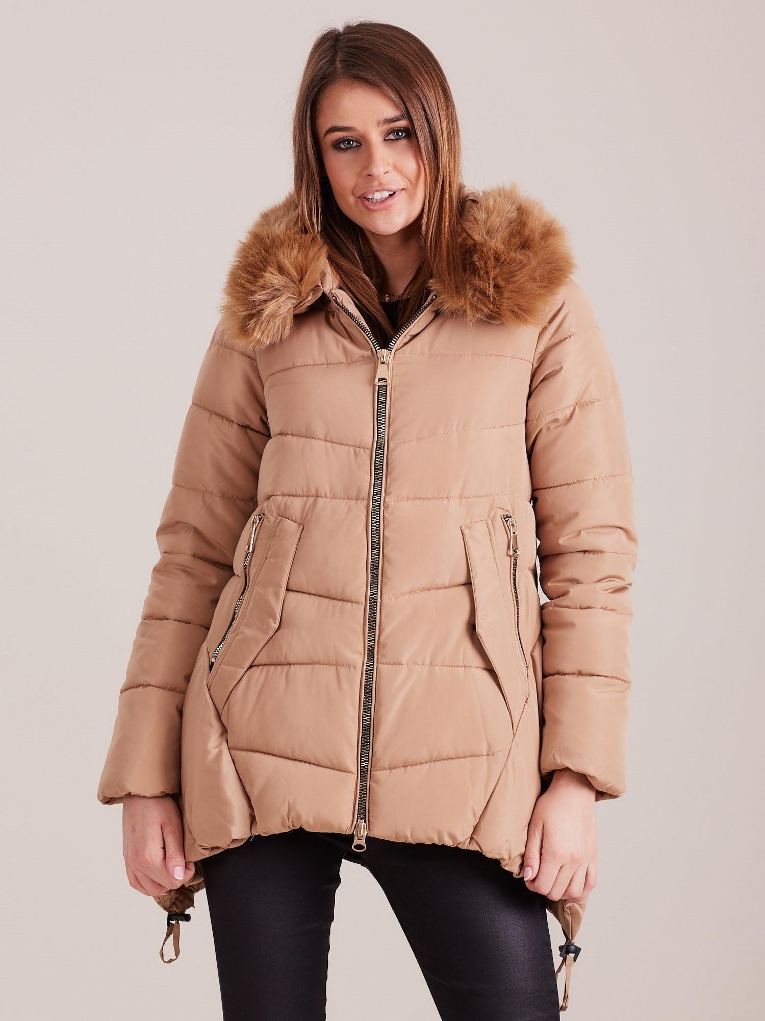 Béžová zimná prešívaná bunda - S