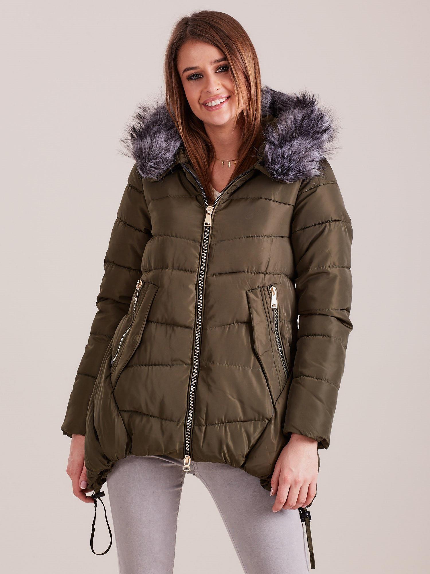 Kaki zimná prešívaná bunda - L