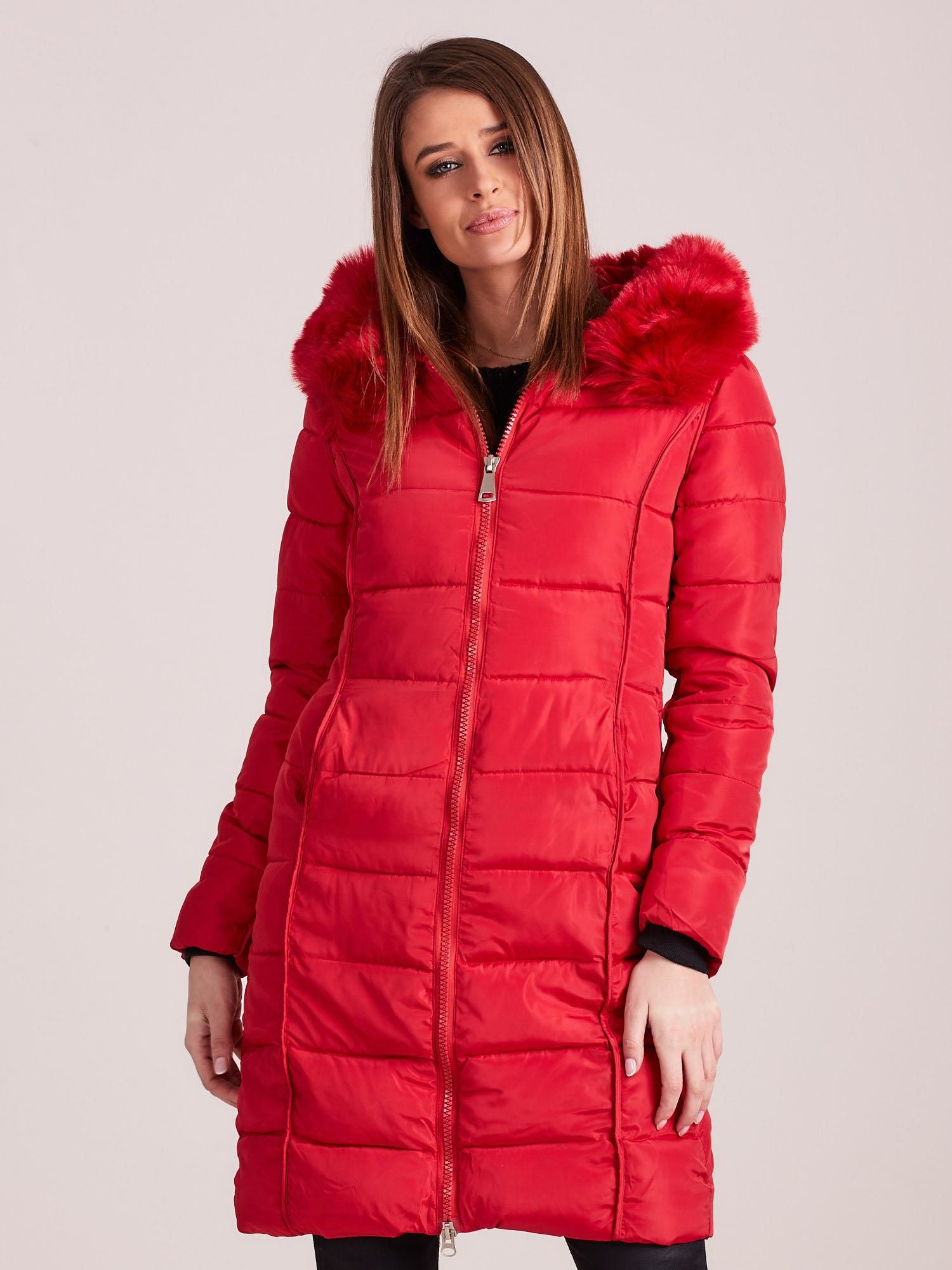Dlhá červená zimná prešívaná bunda - S
