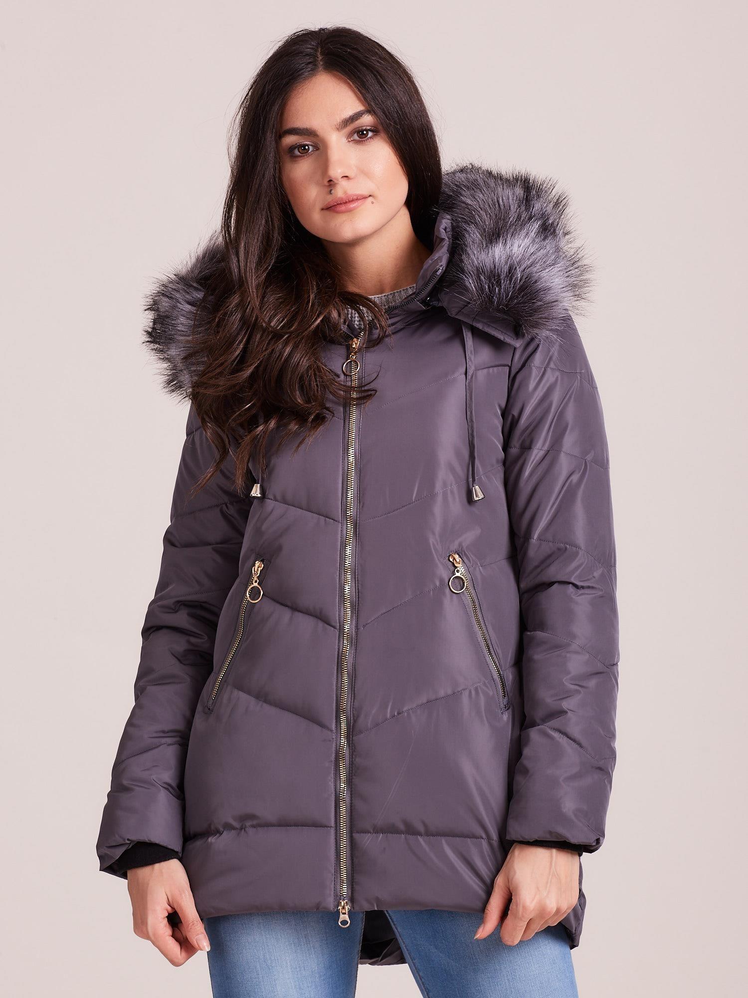 Sivá zimná bunda s kožušinou - L