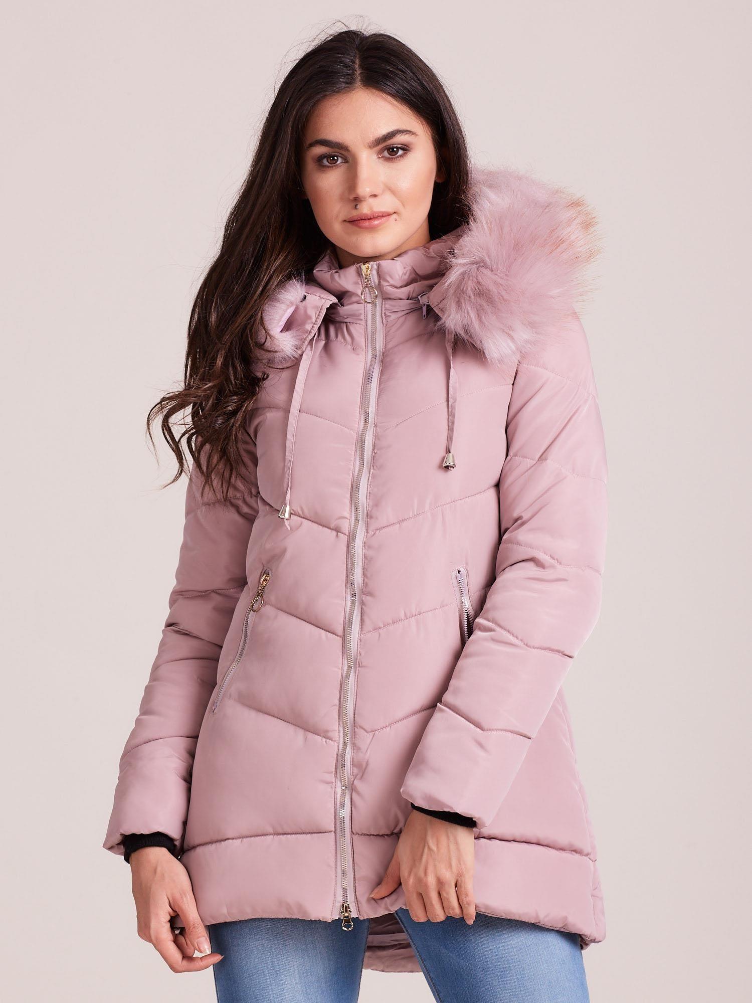 Svetloružová zimná bunda s kožušinou - XXL