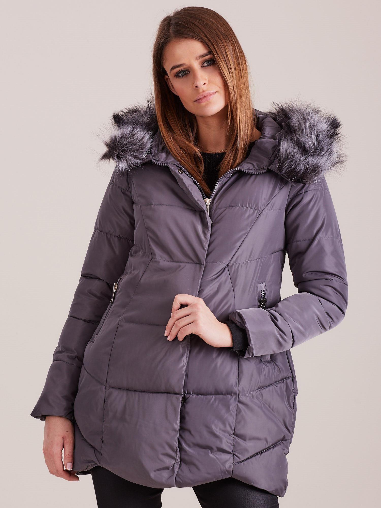 Šedá zimná bunda s kapucňou - XL