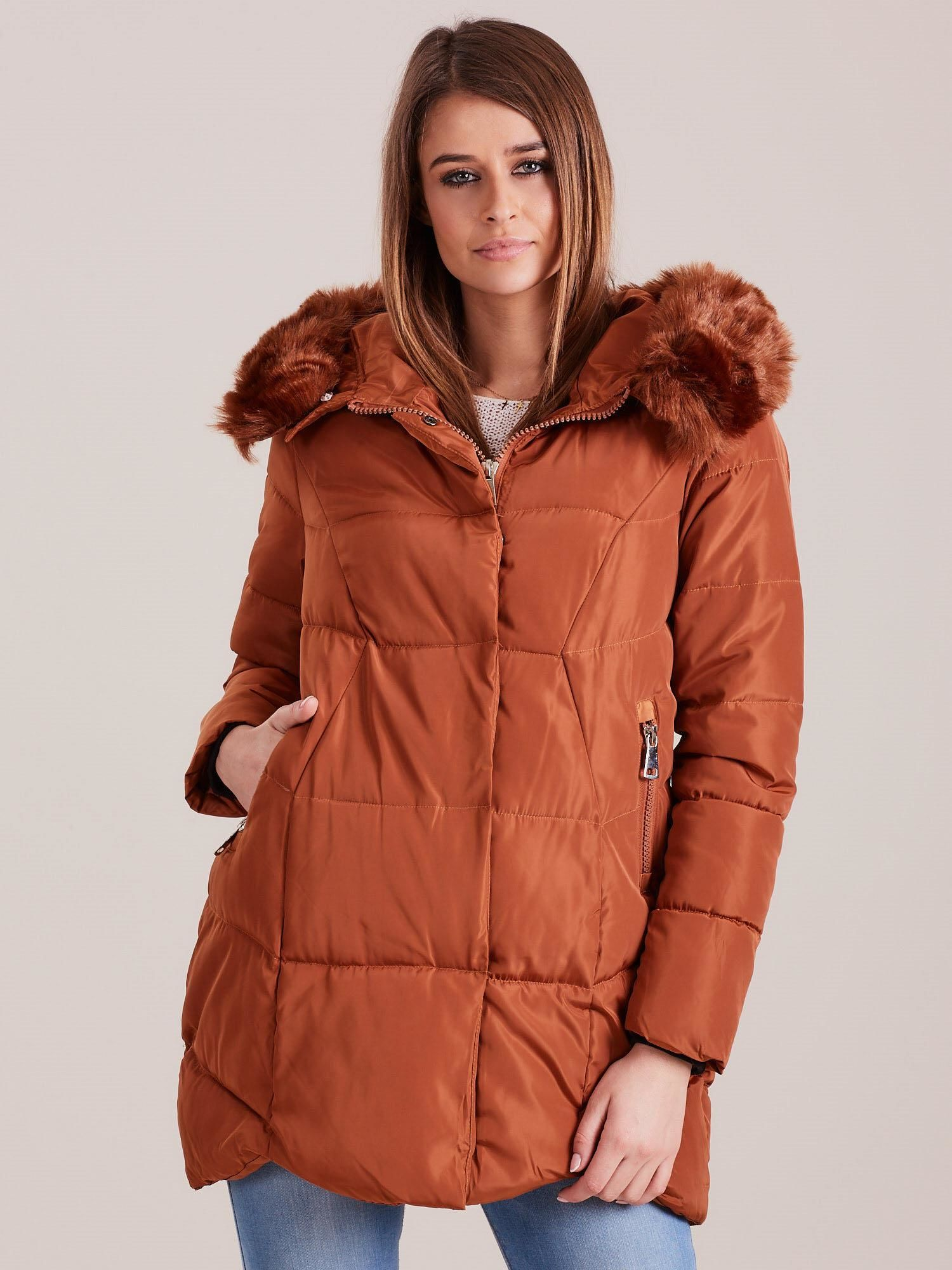 Hnedá zimná bunda s kapucňou - XL