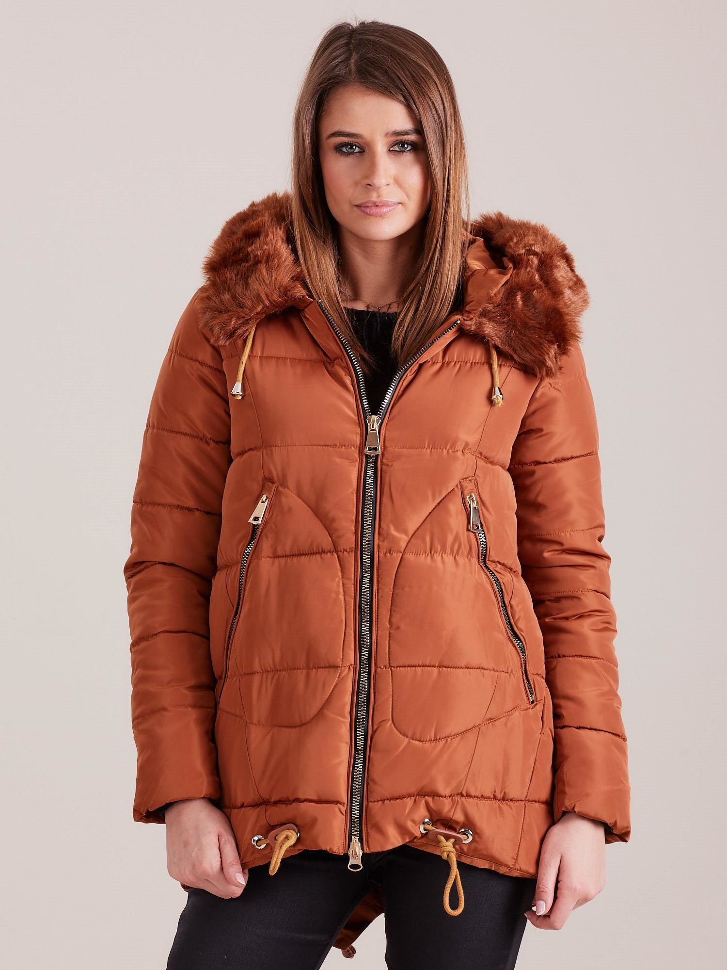 Hnedá prešívaná zimná bunda - XXL