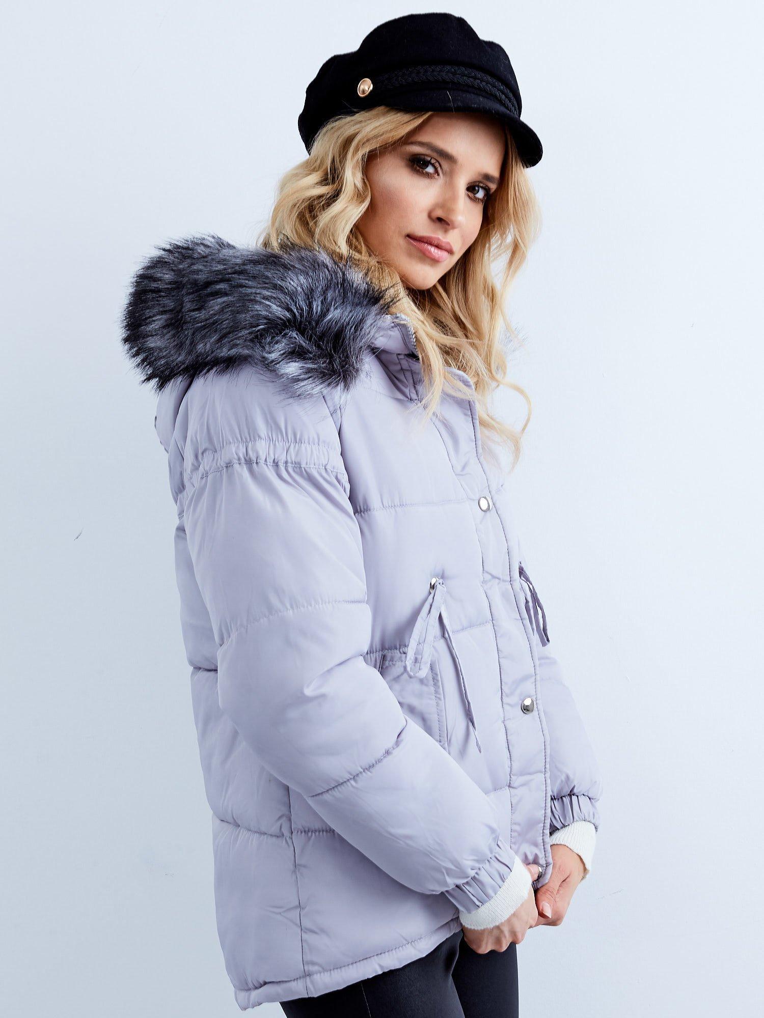 Dámska šedá prešívaná zimná bunda - S