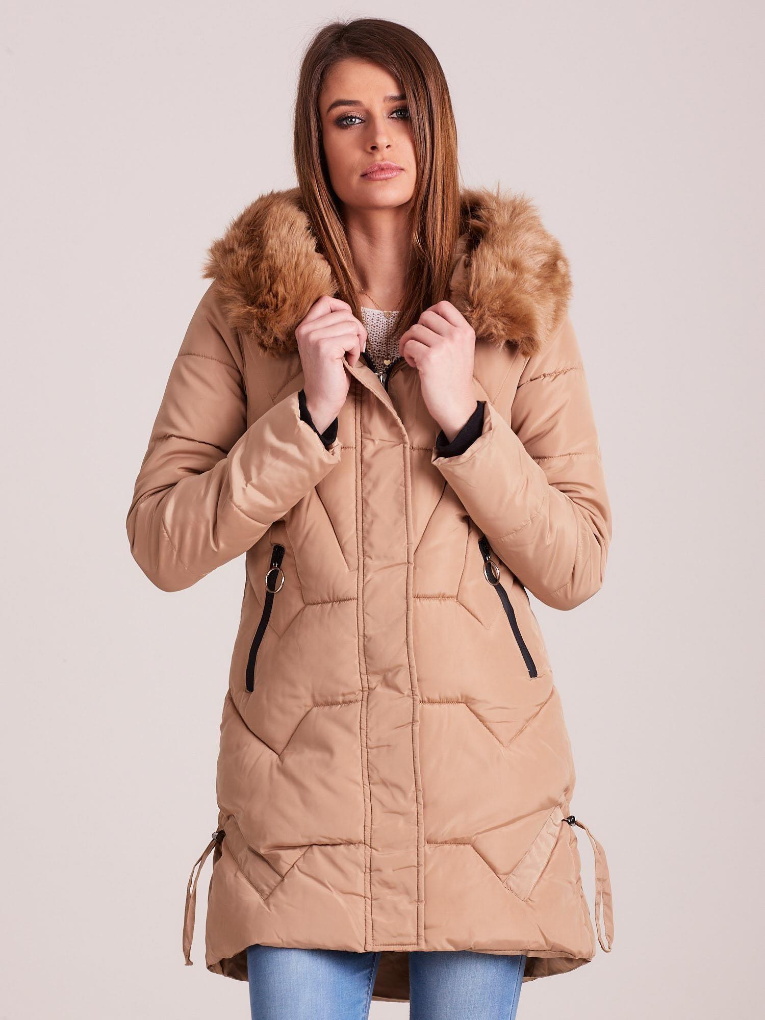 Béžová prešívaná zimná bunda - S