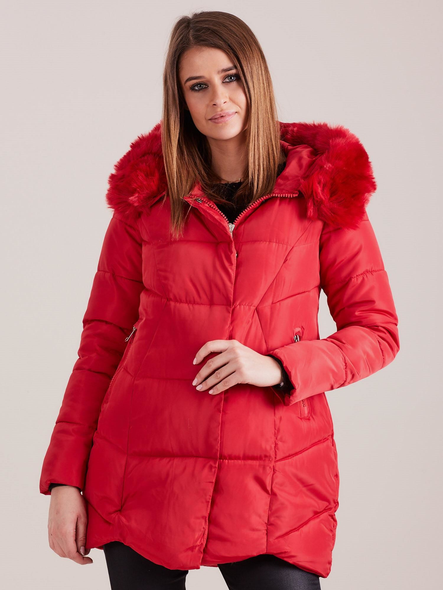 Červená zimná bunda s kapucňou - M