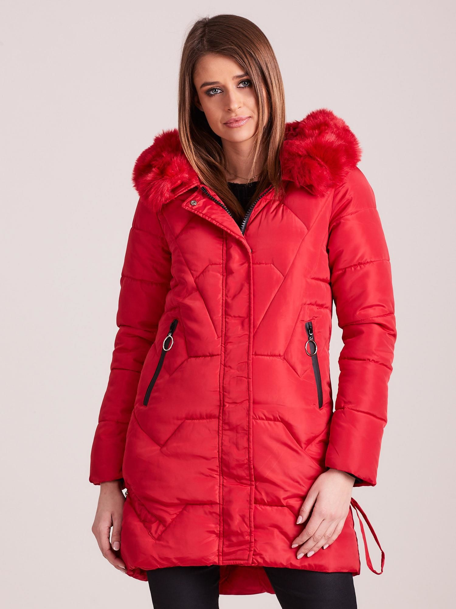 Dlhá červená zimná bunda - XL