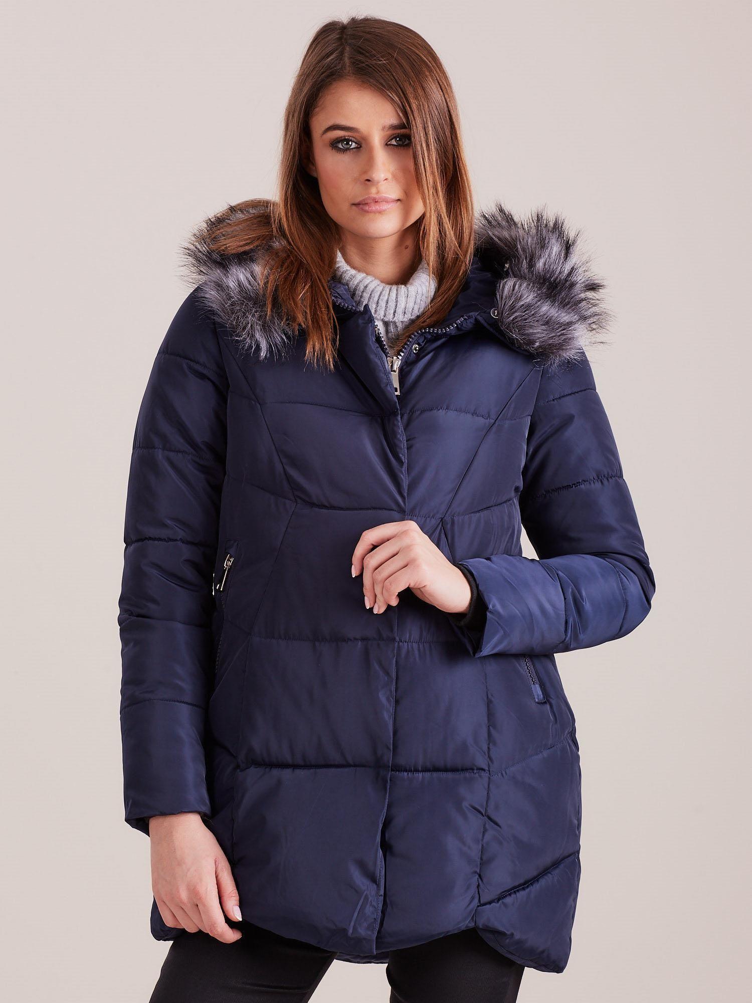 Modrá zimná bunda s kapucňou - S