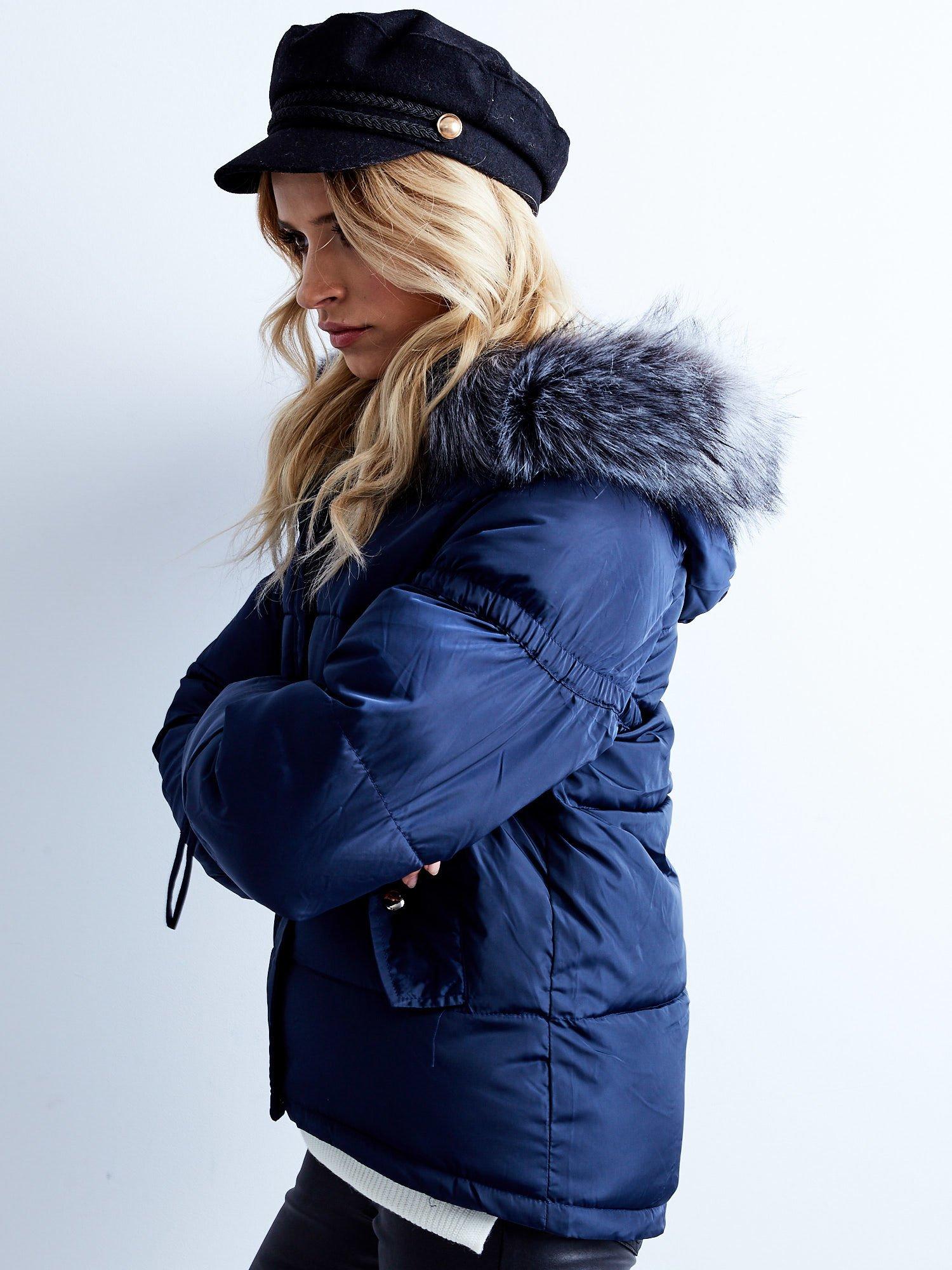 Dámska modrá prešívaná zimná bunda - S