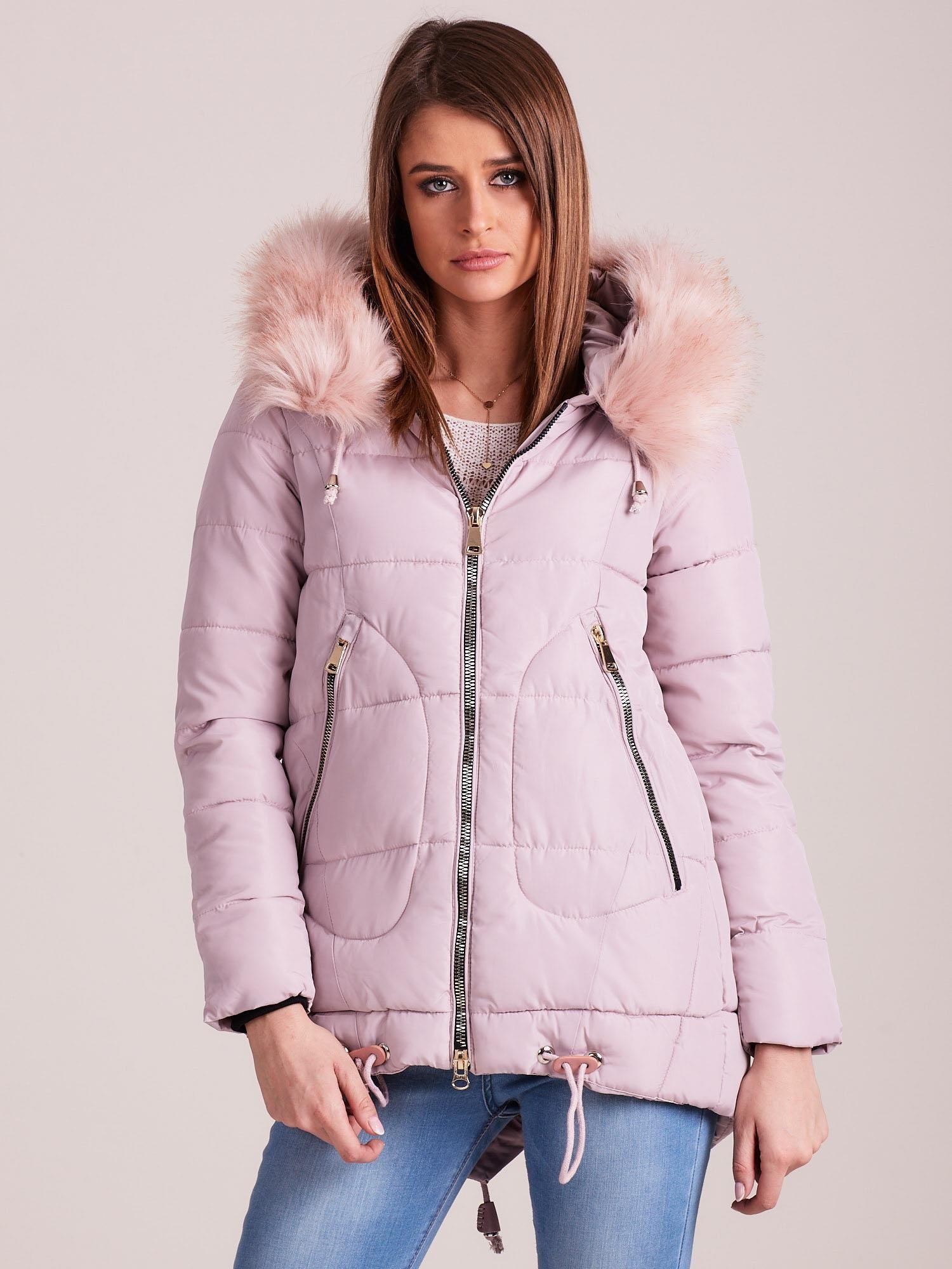 Dámska ružová prešívaná zimná bunda - S