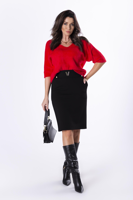 Dámska čierna sukňa s opaskom - 36