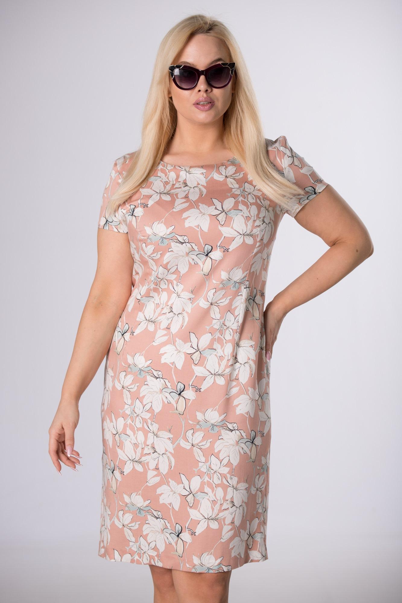 Oranžové šaty s kvetinovým vzorom - 40