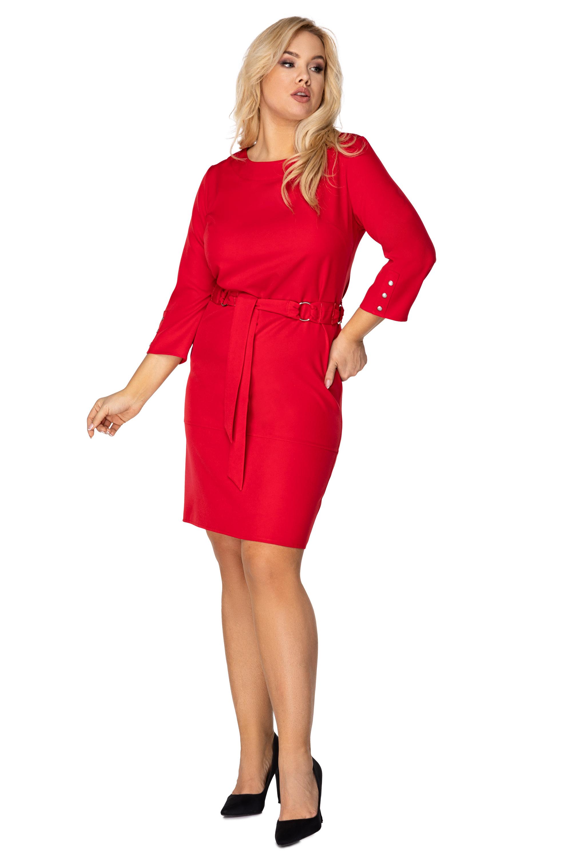Červené puzdrové šaty s 3/4 rukávmi s ozdobnými gombíkmi - 38