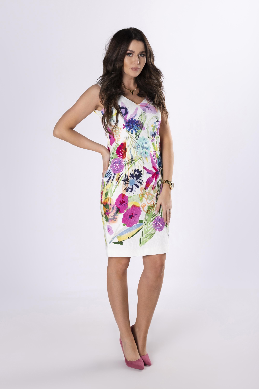 Smotanové puzdrové šaty s kvetmi - 38