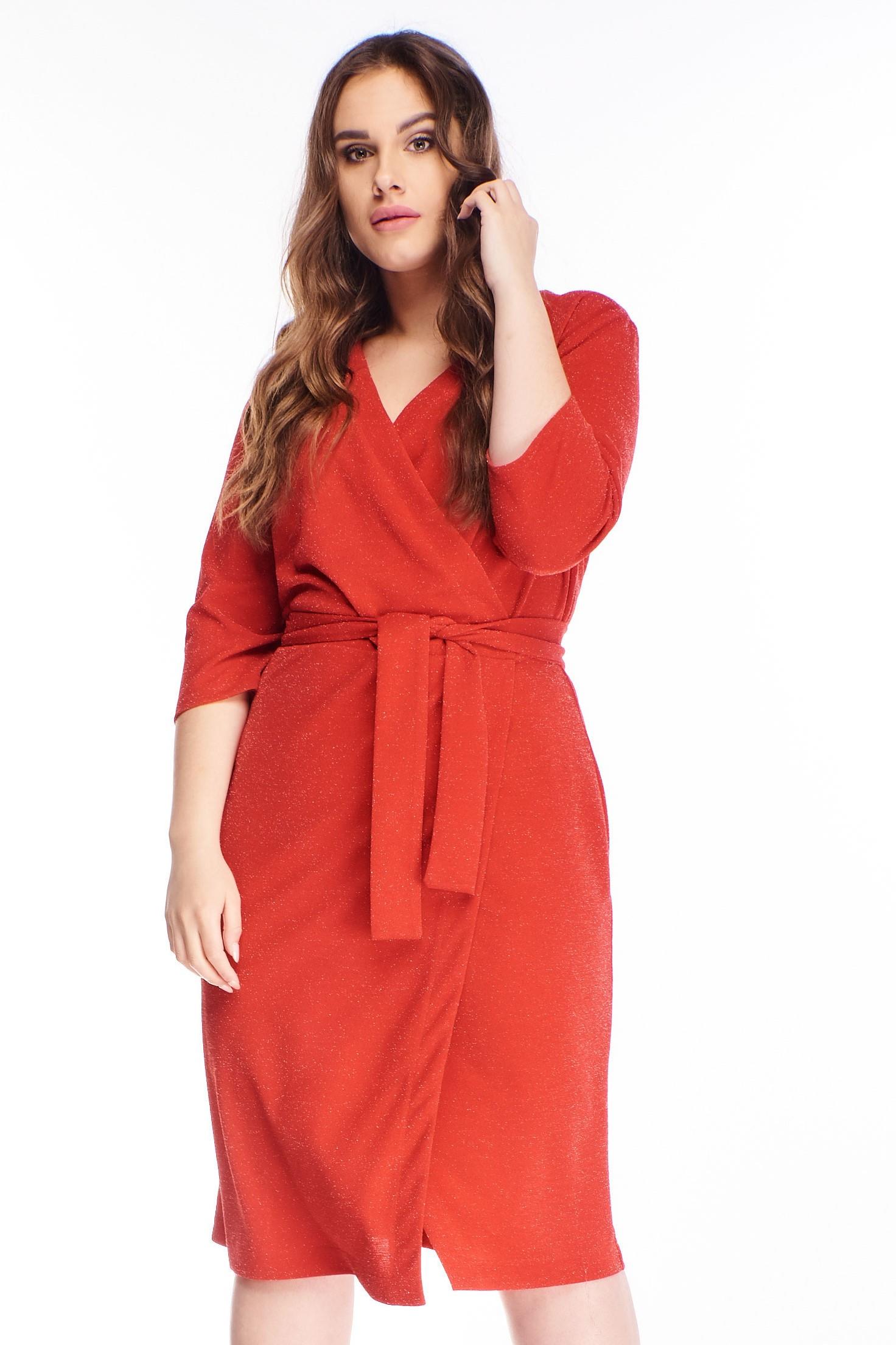 Červené krátke zavinovacie šaty - 44