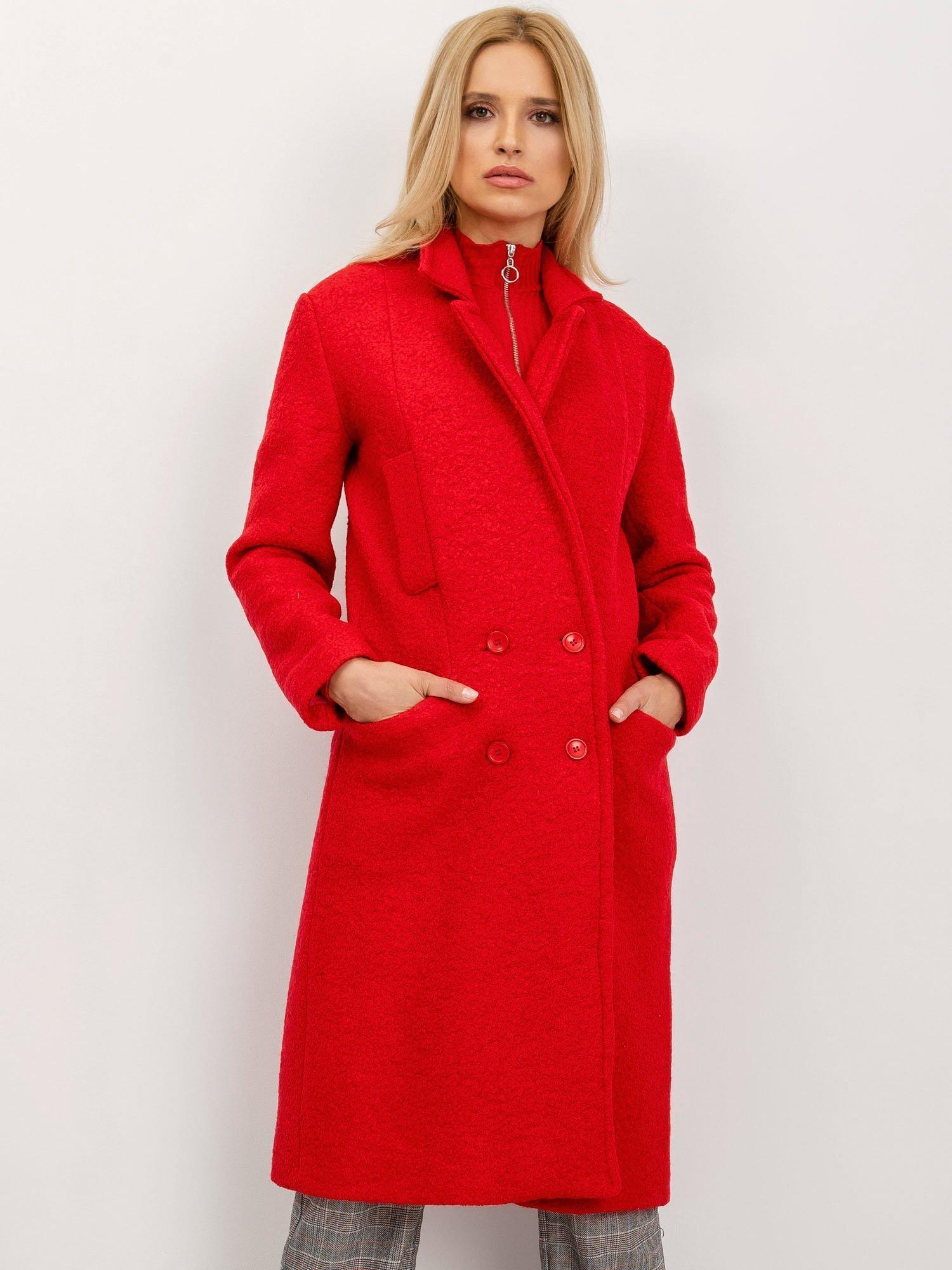 Červený elegantný dlhý kabát - L