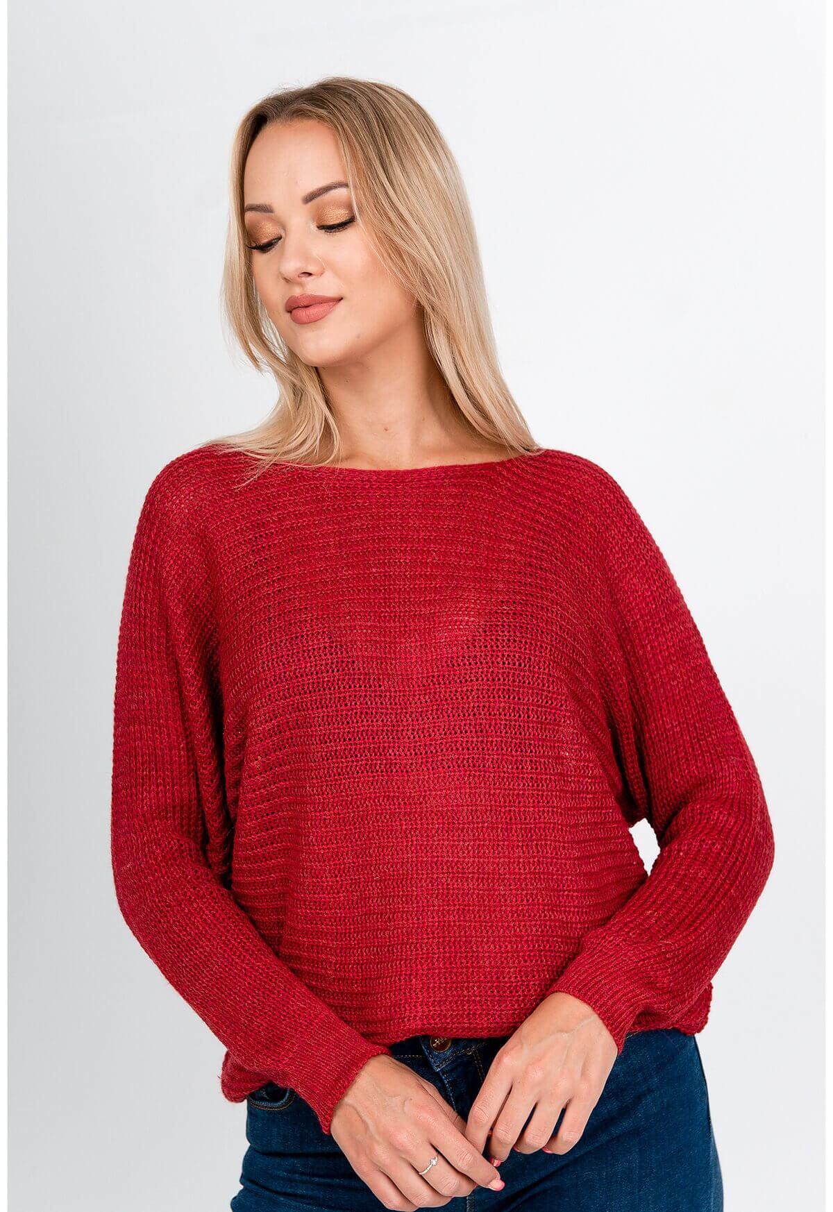 Červený oversize sveter s okrúhlym výstrihom