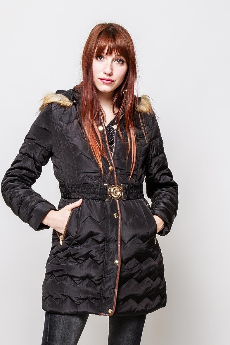 Čierna dámska bunda s kapucňou