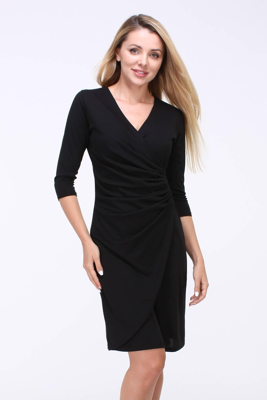 e6e79528fb4b Čierne elegantné midi šaty s véčkovým výstrihom - ROUZIT.SK