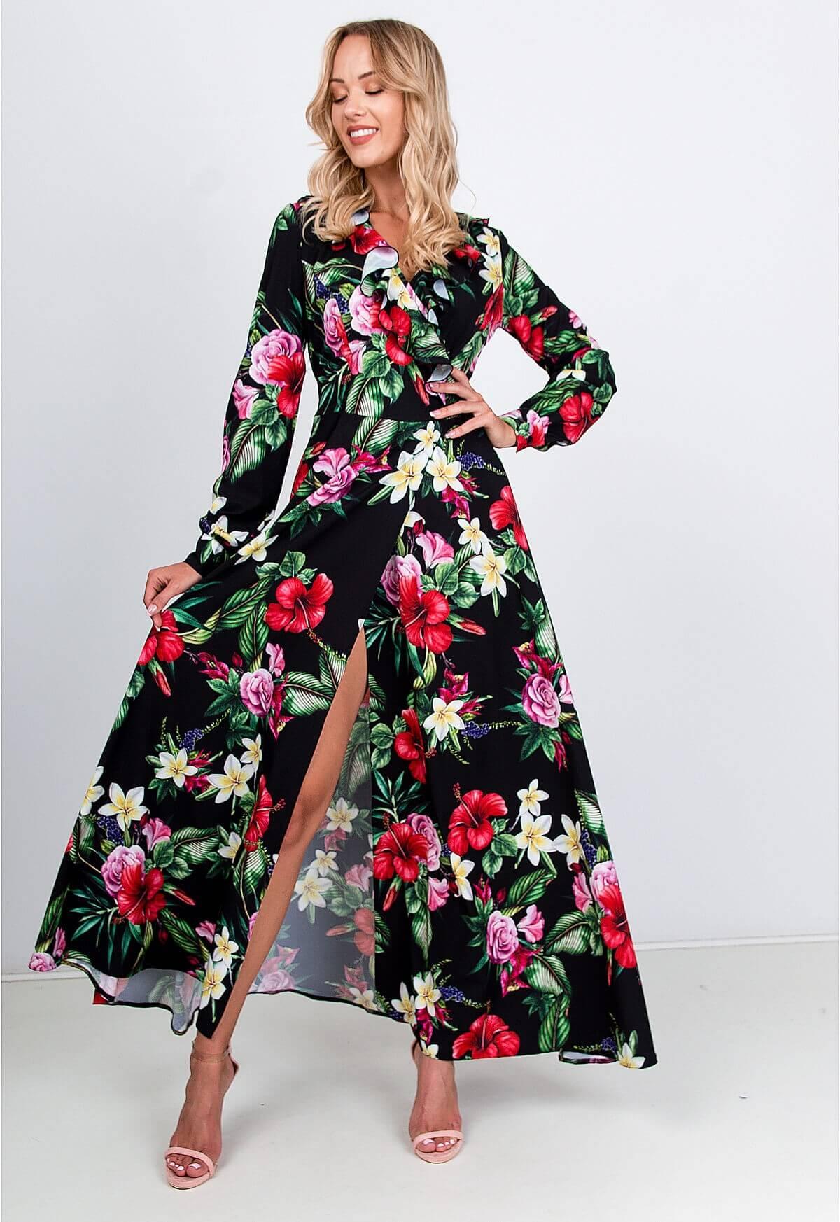 Čierne spoločenské maxi šaty s kvetinovým motívom - L
