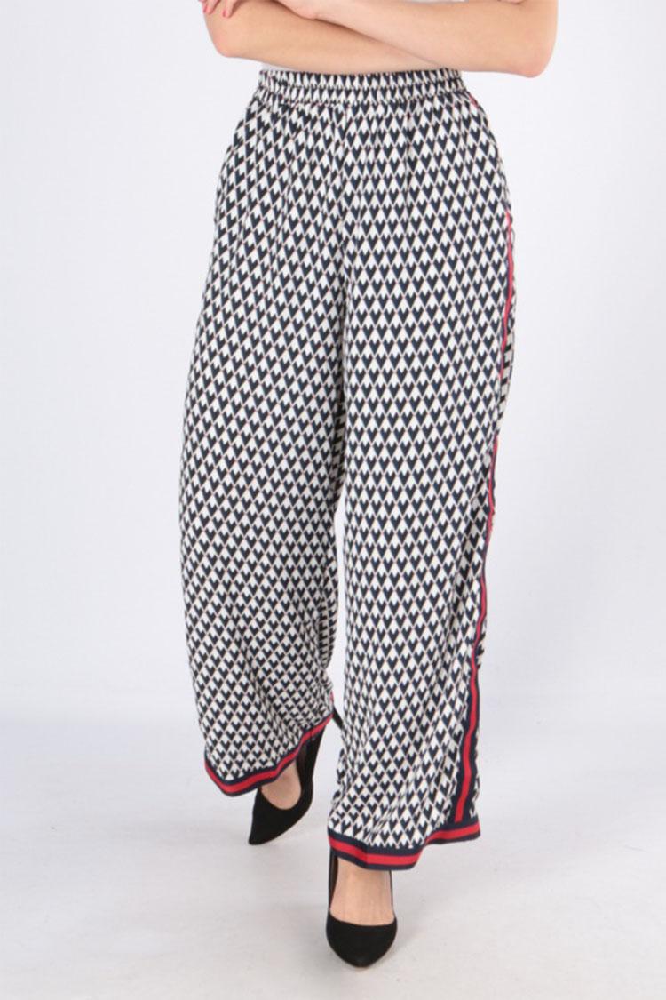 Čierne vzorované dámske nohavice s pásikom - S/M