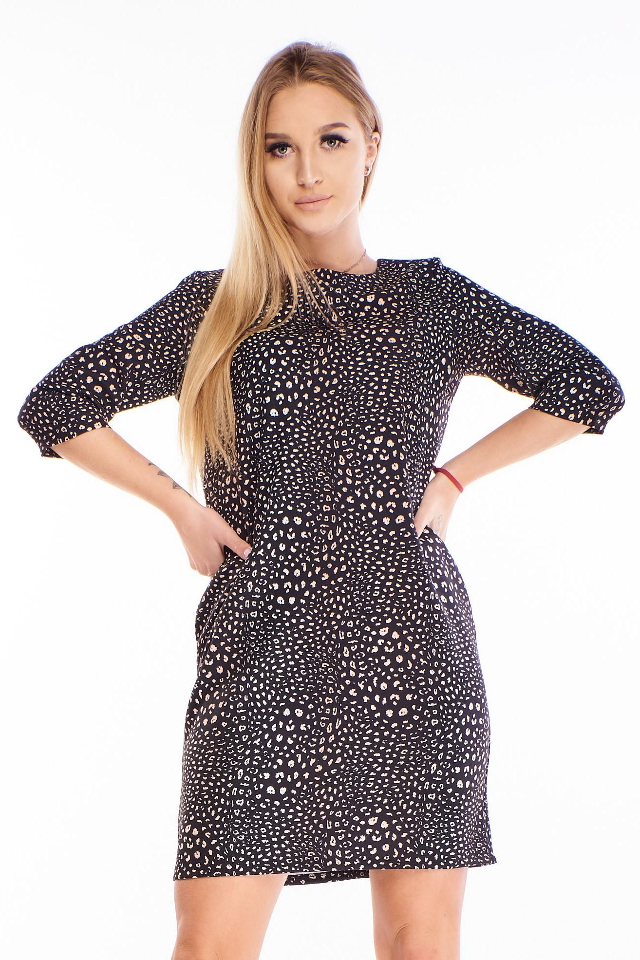 Čierno-biele krátke šaty - 44