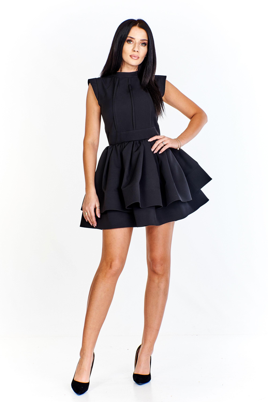 Krátke čierne áčkové šaty s vrstvenou sukňou - 34