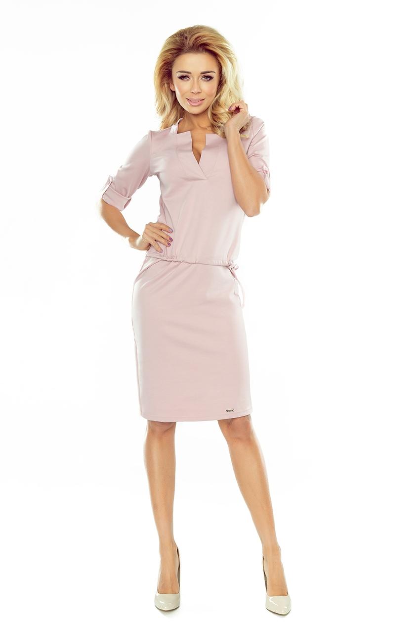 Ružové polodlhé šaty so zaujímavým prevedením - L