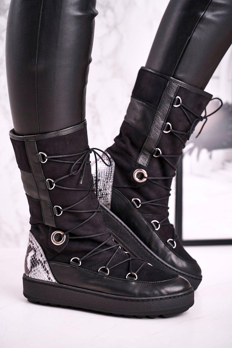 Čierne zateplené semišové topánky - 39