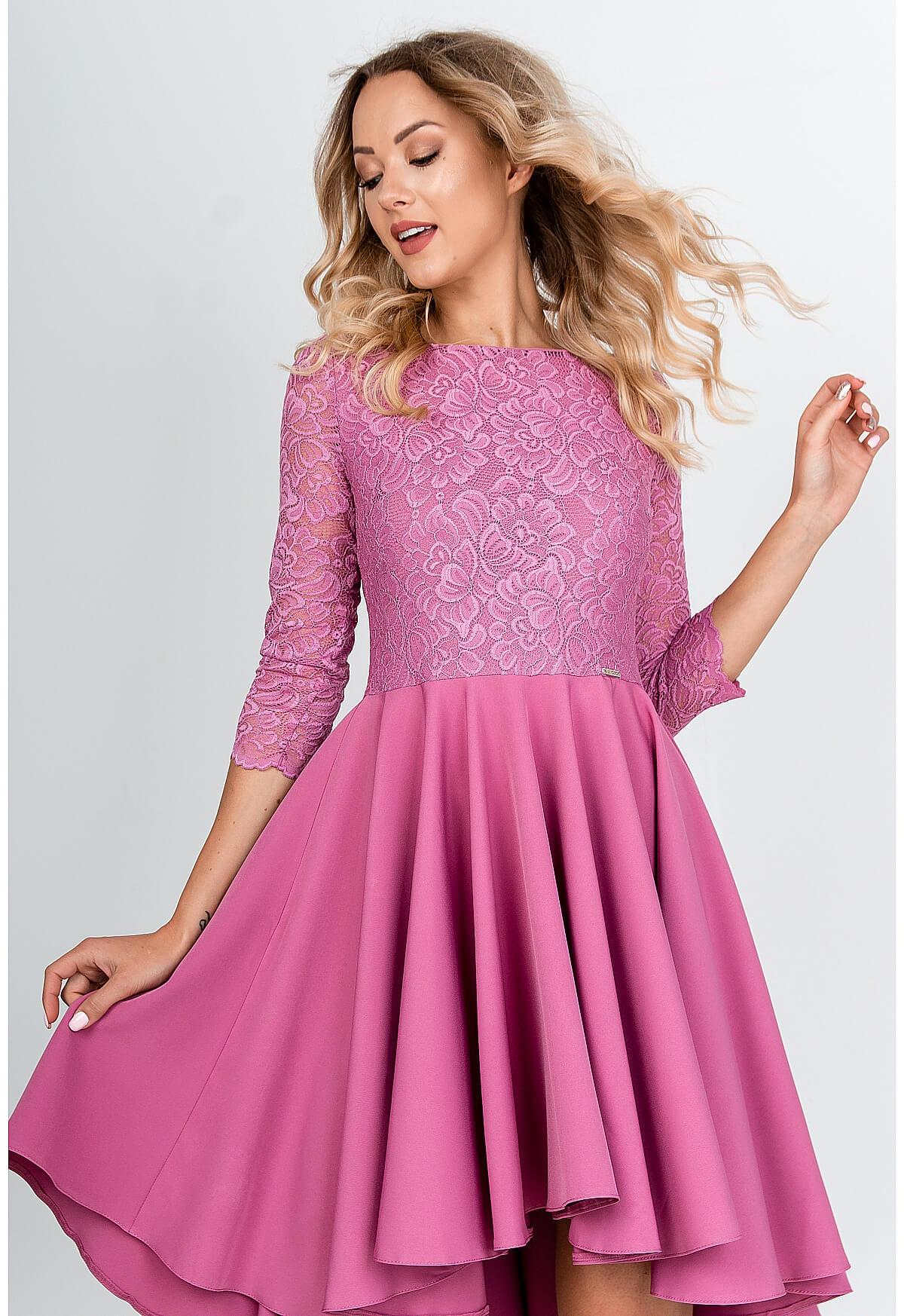 Elegantné asymetrické ružové šaty - S