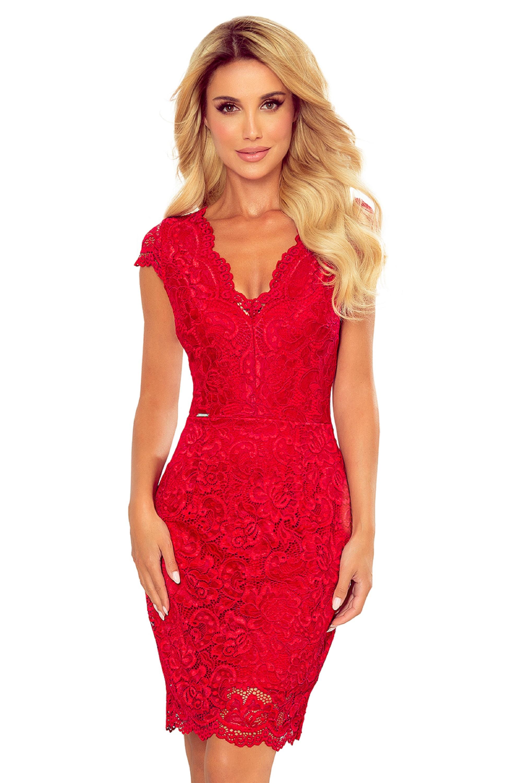 Krátke čipkované šaty v červenej farbe - S