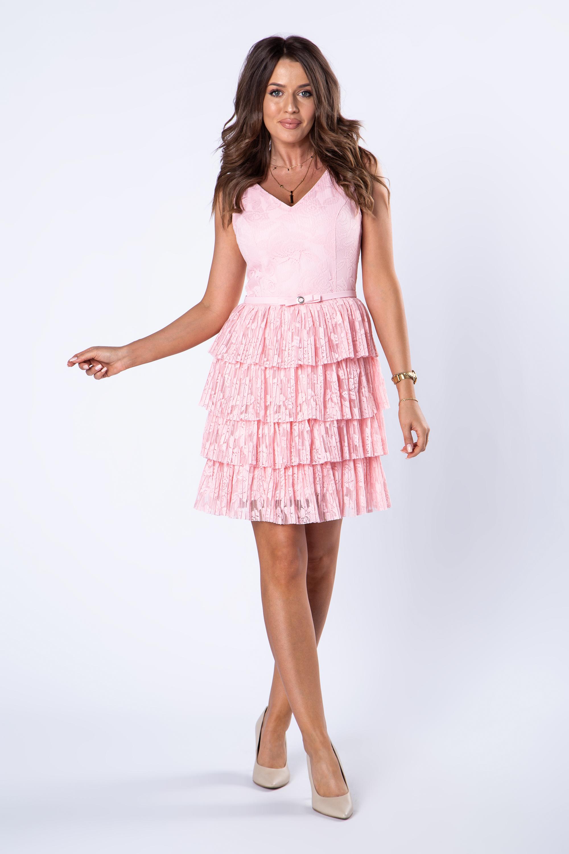 Ružové čipkové šaty na ramienka - 34